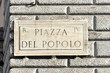 Straßenschild, Piazza del Popolo, Rom, Italien, Europa