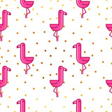 Tropical seamless pattern with pink flamingos and golden dots. Design for fabric, wallpaper, textile and decor. - 199093716