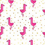 Tropical seamless pattern with pink flamingos and golden dots and stars. Design for fabric, wallpaper, textile and decor. - 199093727