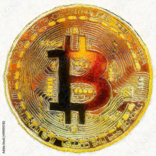 Bitcoin cryptocurrency concept, graphic collage, art effect.
