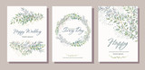 Set of card with beautiful twigs with leaves. Wedding ornament concept. Imitation of watercolor, isolated on white. Sketched wreath, floral and herbs garland - 199097927