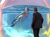 woman dives in a big glass jar