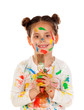 Quadro Funny girl with hands and face full of paint isolated on a white background