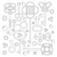 Coloring page or outlines on white: Vintage keys and jewels