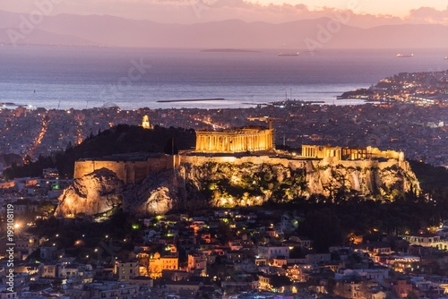 Keuken foto achterwand Athene View of Athens and the Acropolis during nightfall