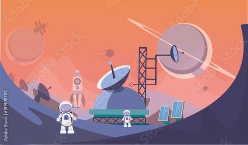 Fototapeta The man on Mars. Against the background of shuttles, spacecraft and satellites. Vector illustration.