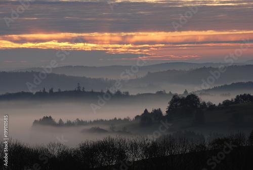 Keuken foto achterwand Ochtendgloren Morgennebel auf der Schwäbischen Alb