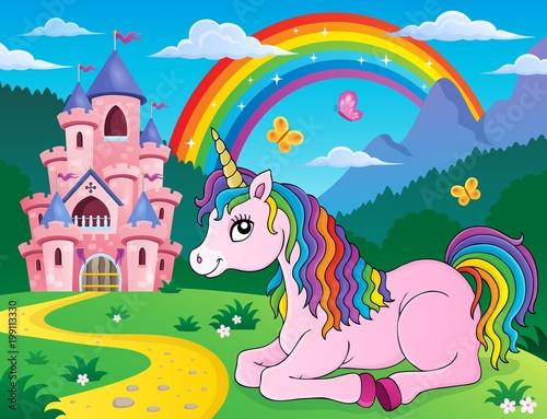 Poster Voor kinderen Lying unicorn theme image 2