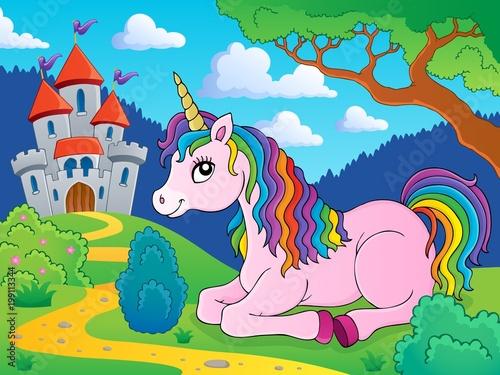 Poster Voor kinderen Lying unicorn theme image 3