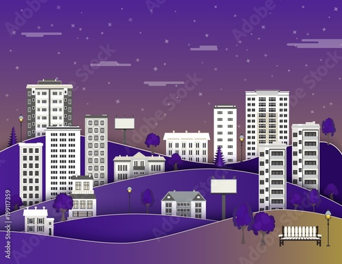 Foto Spatwand Violet City paper landscape in night with multistorey apartment houses and office buildings, public park on dark blue sky background with clouds - flat style colorful cityscape. Vector illustration.