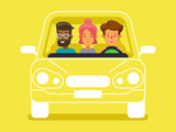 Fototapety Carpool with driver and passengers characters. Diverse group of people shares car, front view