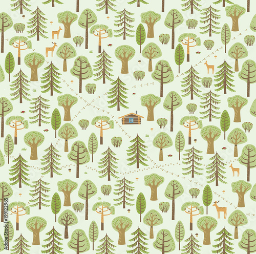 fototapeta na ścianę Trails, traces of animals, bushes, berries, mushrooms make up a beautiful summer forest pattern. Vector graphics. Seamless Pattern