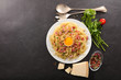 pasta with bacon,parmesan and egg - 199125327
