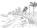 City beach graphic black white city landscape sketch illustration vector - 199125900
