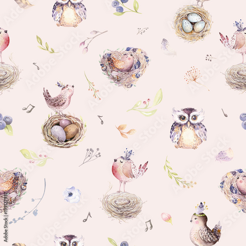 Cotton fabric Watercolor spring rustic pattern with nest, birds, branch,tree twigs and feather. Watercolour seamless hand drawn bird background. Vintage, boho illustration