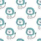 Seamless pattern with cute cartoon lion. Vector illustration.
