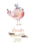 Hand drawing easter watercolor flying cartoon bird and eggs with leaves, branches and feathers. Watercolour spring art illustration in vintage boho style. Greeting bohemian cars. - 199136185