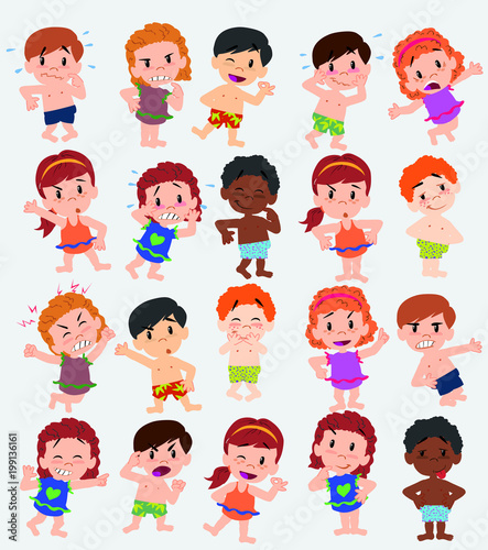 Cartoon character boys and girls in a swimsuit. Set with different postures, attitudes and poses, doing different activities. Vector illustrations. - 199136161
