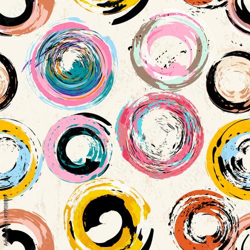Aluminium Abstract met Penseelstreken seamless background pattern, with circles, strokes and splashes