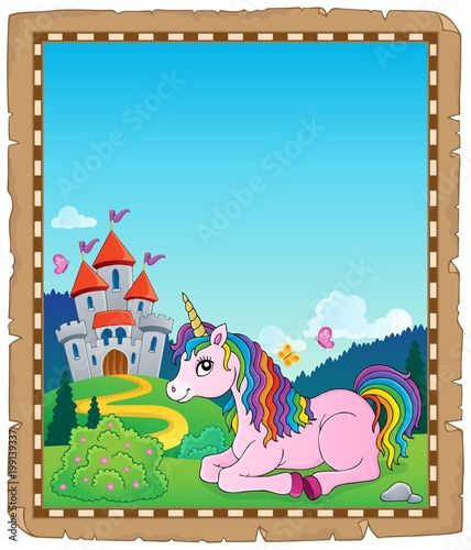 Poster Voor kinderen Parchment with lying unicorn theme 2