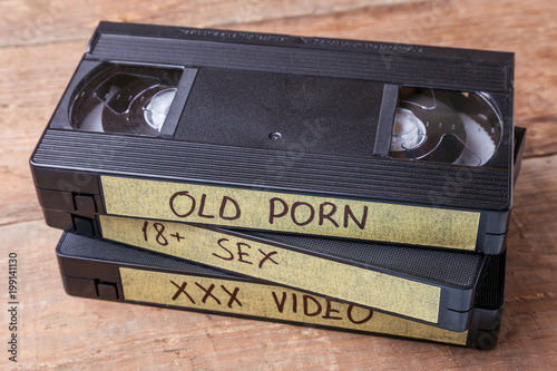 Old videocassettes VHS with pornographic films. XXX movies for adults - 199141130