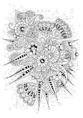 Coloring book, page for adult and older children. Black and white abstract floral pattern. Vector illustration. Design for meditation.