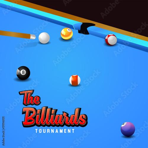 Billiard balls on table vector. Billiard game sport competition leisure illustration