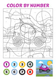 Color by Number is an educational game for children. Violet Tiny Car.