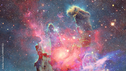 Nebula and stars in outer space. Elements of this image furnished by NASA. - 199149783