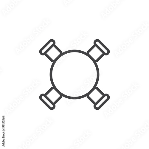 table and chairs top view psd circle table and chairs top view outline icon linear style sign for mobile concept