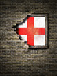 Old England flag in brick wall