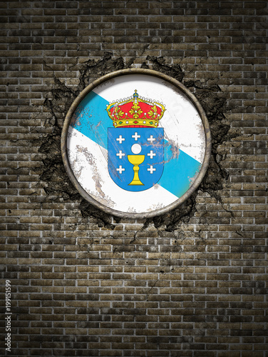 Old Galicia flag in brick wall
