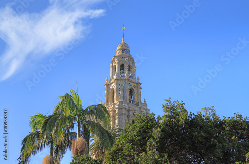 California Tower overlooking Balboa Park in San Diego, California.