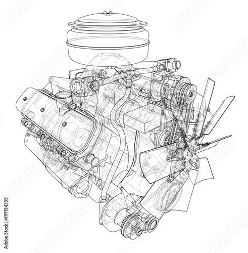 Szkic silnika. 3d ilustracja