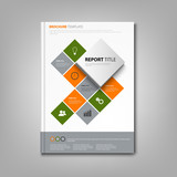 Brochures book or flyer with cube abstract info graphic