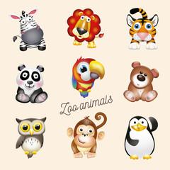 Zoo life. Cartoon fun zoo animals set. Vector illustration, isolated on white background