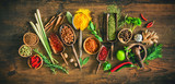 Colourful various herbs and spices for cooking - 199157752
