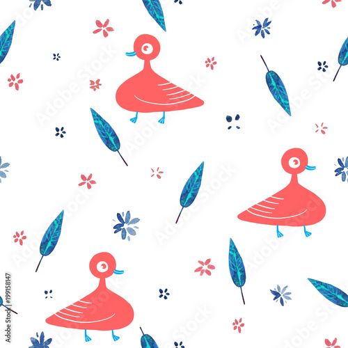 Cotton fabric watercolor  cute flowers pattern and cartoon birds illustration seamless pattern
