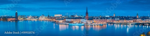 Stockholm skyline panorama in twilight, Sweden