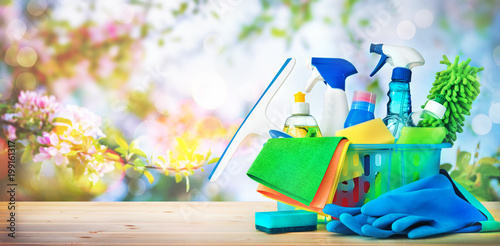 Cleaning concept. Housecleaning, hygiene, spring, chores, cleaning supplies - 199161317