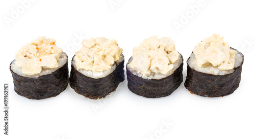 Foto op Plexiglas Sushi bar Row of rolls with seaweed isolated on white