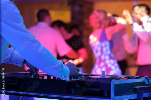 Dancing couples during party or wedding celebration - 199164191