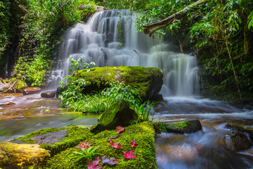 Mun daeng Waterfall, the beautiful waterfall in deep forest at Phu Hin Rong Kla National Park ,Phitsanulok, Thailand