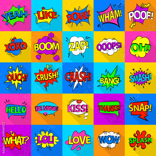 Comic colored sound icons set, flat style - 199169372