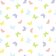 Seamless pattern. Butterflies of light colors isolated on a white background.  Ideal for kids textile print, wallpapers, wrapping paper