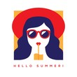 Hello summer card with girl in sunglasses