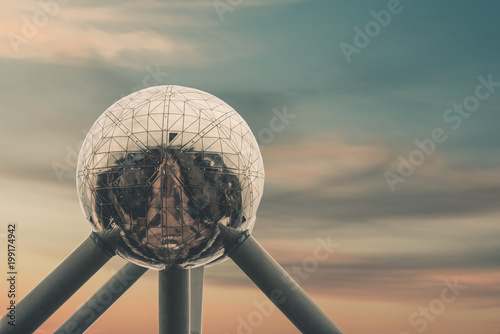 Atomium in brussels in front of beautiful sunset sky - 199174942