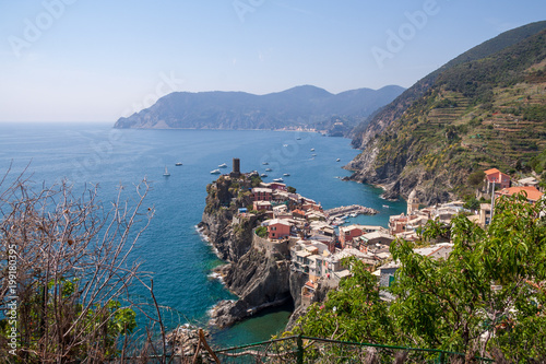 Foto op Plexiglas Liguria Vernazza on the Cinque Terre (meaning Five Lands) on Ligurian Riviera in Italy.
