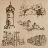 Architecture around the World - An hand drawn vector pack, collection. - 199181796