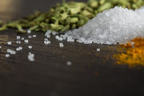 sea salt among spices on the stone surface,macro,food concept - 199182396